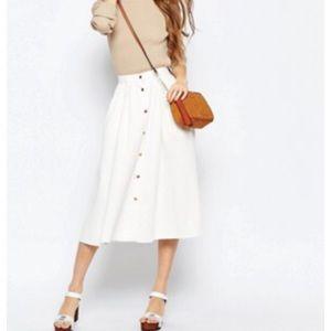 Asos denim jean white skirt midi button down maxi